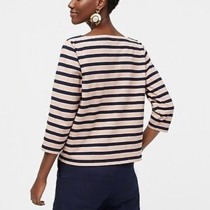 J. Crew Structured Boatneck Striped T-shirt